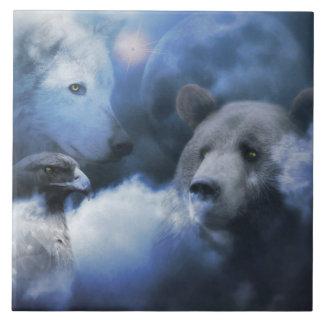 Oso, Eagle y teja del arte del lobo