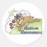 Oso el dormir de la conciencia del autismo pegatinas redondas