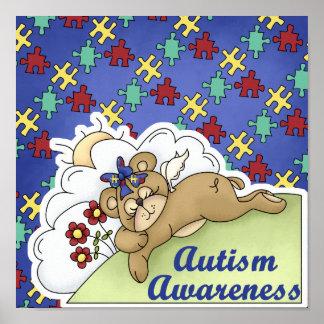 Oso el dormir de la conciencia del autismo póster