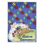 Oso el dormir de la conciencia del autismo felicitacion
