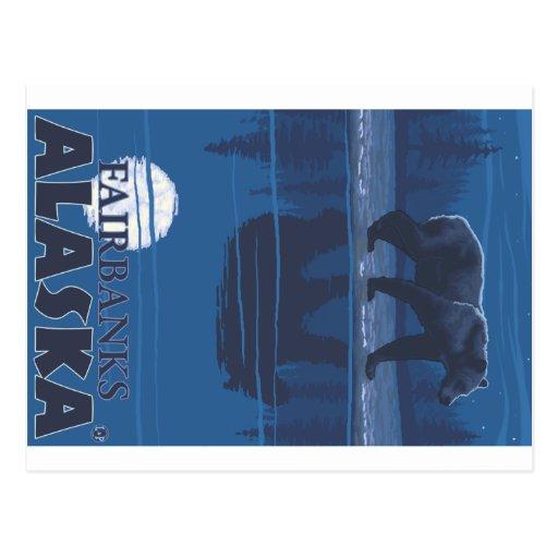 Oso en claro de luna - Fairbanks, Alaska Tarjeta Postal