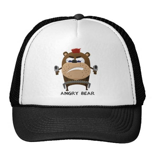 Oso enojado gorras