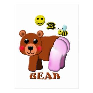 oso feliz de 2 abejas tarjetas postales