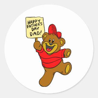 Oso feliz del día de padre pegatina redonda