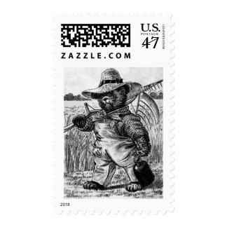 Oso Fred - letra F del granjero - oso de peluche Timbre Postal