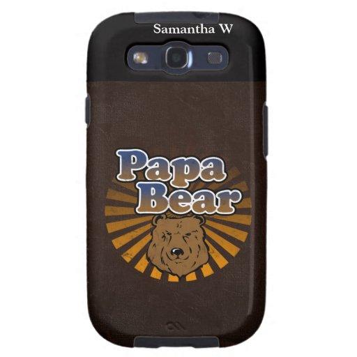 Oso fresco de la papá, Brown/azul/regalo del papá Carcasa Para Samsung Galaxy S3