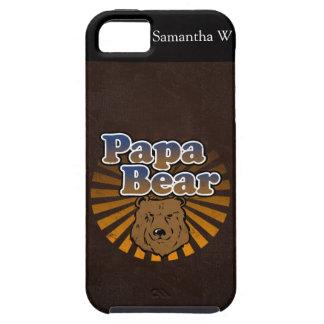 Oso fresco de la papá, Brown/azul/regalo del papá iPhone 5 Protectores