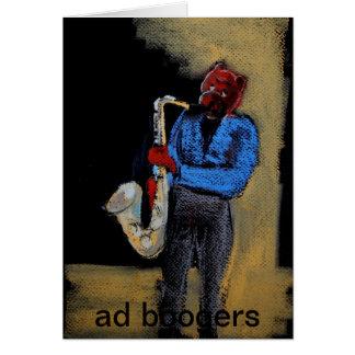 oso fresco del saxofón tarjeta de felicitación