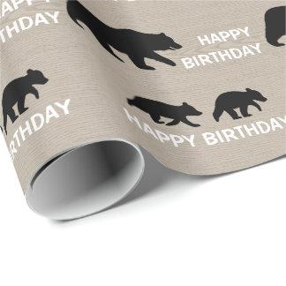 Oso grizzly con Cubs - texto adaptable Papel De Regalo