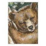 Oso grizzly Cub y tocón de árbol Felicitacion