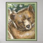Oso grizzly Cub y tocón de árbol Impresiones