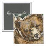 Oso grizzly Cub y tocón de árbol Pins