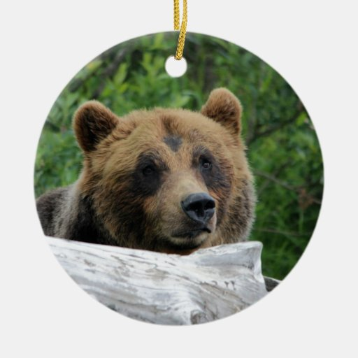 Oso grizzly de Alaska, el Kodiak Adorno Navideño Redondo De Cerámica