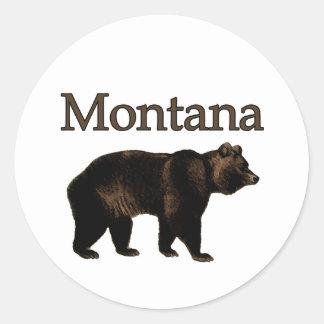 Oso grizzly de Montana Pegatina Redonda