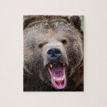 Oso grizzly de rugido rompecabezas con fotos