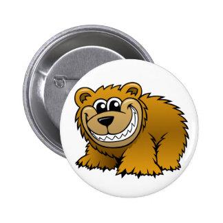 Oso grizzly del dibujo animado pin redondo 5 cm