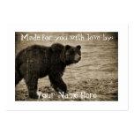 Oso grizzly en antigüedad tarjetas de visita