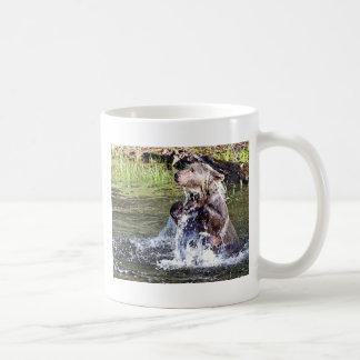 Oso grizzly en el agua taza de café