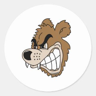 Oso grizzly feroz pegatina redonda