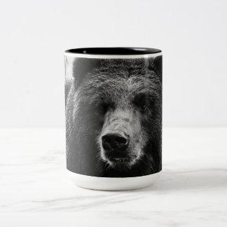 Oso grizzly hermoso taza dos tonos