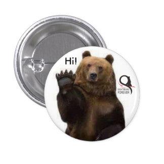 oso grizzly hola pin redondo 2,5 cm