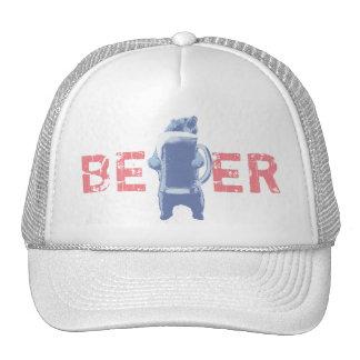 Oso grizzly moderno y cerveza gigante gorras