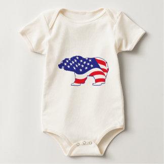 Oso grizzly patriótico body para bebé
