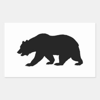 Oso grizzly rectangular pegatina
