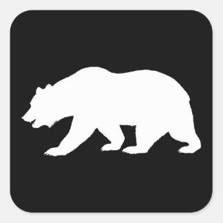 Oso grizzly calcomanía cuadradase