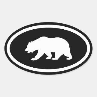 Oso grizzly pegatinas oval personalizadas