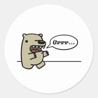 Oso grizzly pegatinas redondas
