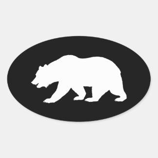 Oso grizzly pegatina ovalada