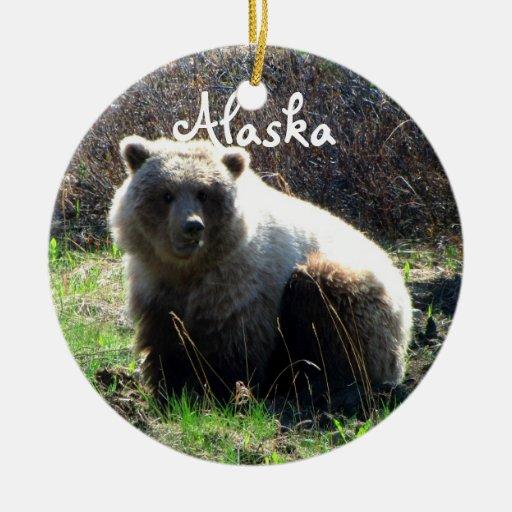 Oso grizzly rechoncho de CGB Ornamento Para Arbol De Navidad