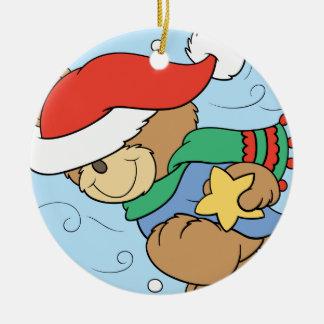 Oso hivernal lindo del navidad adorno navideño redondo de cerámica