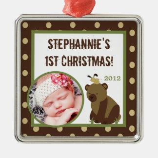 Oso hueco encantado ornamento de encargo adorno navideño cuadrado de metal
