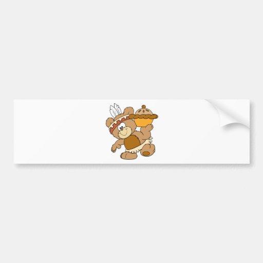 oso indio lindo de la acción de gracias con la emp pegatina para auto