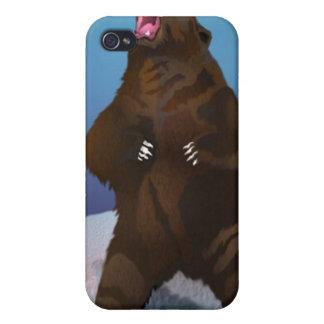 Oso Iphone 4 el gruñir del oso de Brown del Kodiak iPhone 4 Carcasas