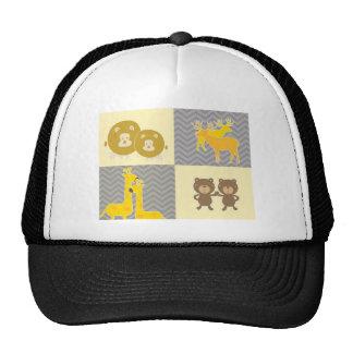 Oso, león, jirafa y ciervos animales - gris, amari gorras