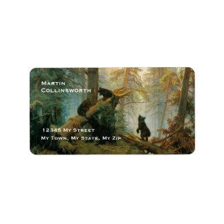 Oso lindo Cubs del vintage en un bosque Etiqueta De Dirección