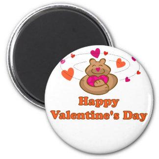 Oso lindo de la tarjeta del día de San Valentín de Iman De Nevera