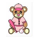 Oso lindo del chica del softball - rosa postal