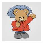 Oso lindo del día lluvioso impresiones
