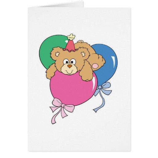 Oso lindo del globo del cumpleaños tarjeta de felicitación