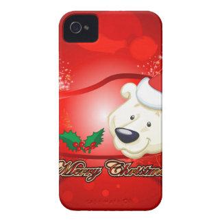 Oso lindo del navidad Case-Mate iPhone 4 cárcasas