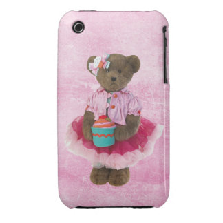 Oso lindo en tutú rosado con la magdalena funda para iPhone 3