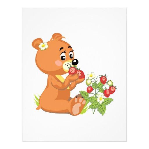 oso lindo que come las fresas tarjeton