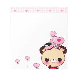 Oso lindo y globos rosados blocs de notas