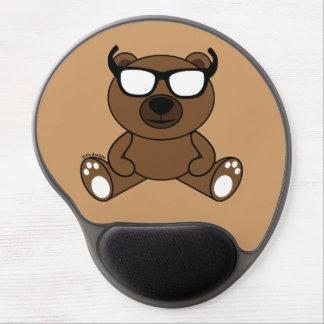 Oso marrón fresco adaptable con las gafas de sol alfombrillas de ratón con gel