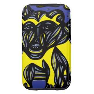 Oso, negro azul del amarillo del oso polar tough iPhone 3 fundas