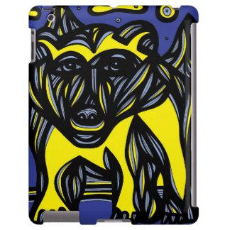 Oso, negro azul del amarillo del oso polar funda para iPad